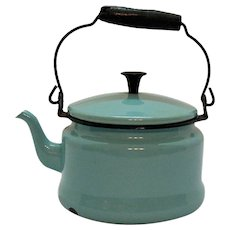 Vintage Turquoise Enamelware Tea Kettle 1930-50s Good Useable Condition