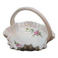 Vintage Westmoreland Milk Glass Basket with Rose Motif Signed 1981 Good Condition