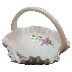 Vintage Westmoreland Milk Glass Basket with Rose Motif Signed 1981 Good Condition