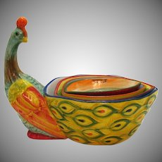 Vintage Ceramic Pier One Peacock Measuring Cups 1980s Good Condition