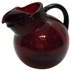 Vintage Anchor Hocking Ruby Red Tilted 42 Oz. Pitcher 1940-60s
