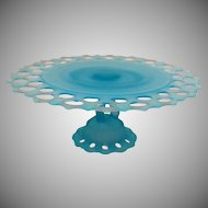 Vintage Westmoreland Satin Blue Pedestal Cake Stand Closed Lacey Edge Doric Pattern 1980s Good Condition