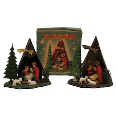 Vintage 2 Miniature Nativity Scenes Original box 1950s Good Condition