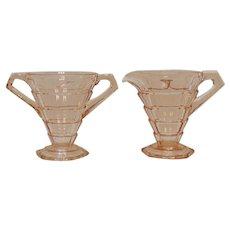 Vintage Indiana Glass Pink Depression Glass Sugar & Creamer Tearoom Pattern 1926-31 Good Condition