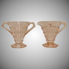 Vintage Indiana Glass Pink Depression Glass Sugar & Creamer Tearoom Pattern 1926-31 Good Condition
