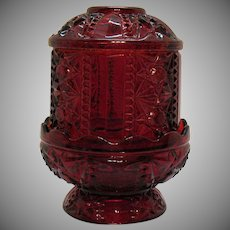 Vintage Indiana Glass Ruby Red Flashed Fairy Lamp 1960s Good Vintage Condition