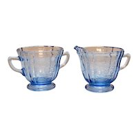 Vintage Indiana Glass Blue Madrid Pattern Sugar& Creamer 1980 Good Condition