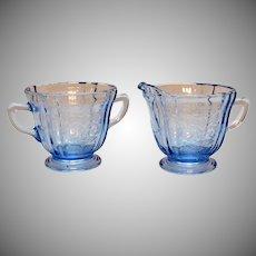 Vintage Indiana Glass Blue Madrid Pattern Sugar& Creamer 1980 Good Condition