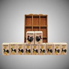 Vintage Ceramic Spice Set Plus S&Ps 1970s Chicken Motif