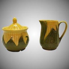 Vintage Shawnee Corn King Pattern 1946-54 Creamer & Sugar Bowl with Lid Good Condition