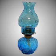 Vintage L.E. Smith Kerosene Lamp Cobalt Blue Moon & Star Pattern 1970s Like New Condition
