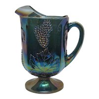 Vintage 1970s Indiana Glass Carnival Glass Pitcher Grape & Leaf Good Condition