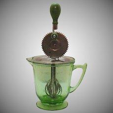 Vintage T&S Torrington Handimaid 4 Cup Pitcher/Mixer Green Depression Glass 1930s Very Good Vintage Condition