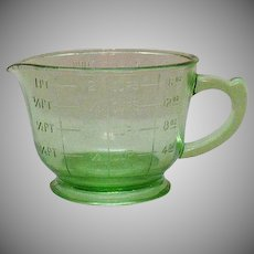 Vintage Green Depression Glass 2 Cup Measuring & Mixing Pitcher 1930s