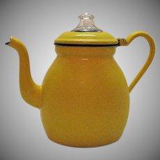 Vintage Polish Enamelware Coffee Pot 1950s