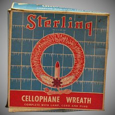 Vintage Cellophane Window/Wall Wreath with light & Original Box 1940s Vintage Condition