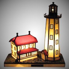 Vintage Stained Glass Lighthouse & House Sandy Hook New Jersey 1995 Good Condition