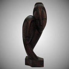 Vintage Mid-Century Teakwood Sculpture of Man & Woman by A. Decembre Good Condition