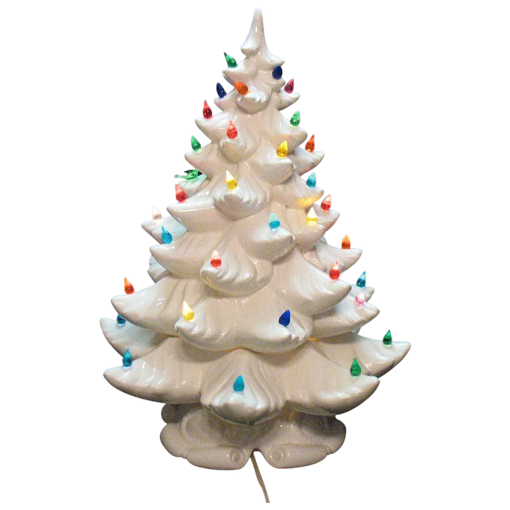 Ceramic Christmas Tree With Lights.Vintage 1979 Atlantic Mold Ceramic Christmas Tree Lighted Base Faux Lights Good Condition