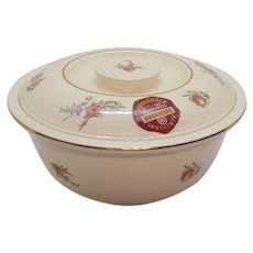 Vintage Homer Laughlin Covered Dish Kitchen Kraft Household Priscilla ovenware Institute 1940s Original Sticker