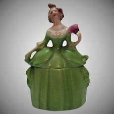 Vintage Erphila Madame Pompadour Dresser Doll Porcelain Powder Box 1920s Good Condition
