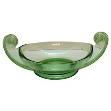 Vintage Rare Fostoria Green Depression Glass Centerpiece Bowl Designed by George Sakier 1920-30s Very Good Condition
