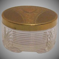 Vintage Art Deco Powder Puff Jar Gold Wash Metal Lid Good Condition