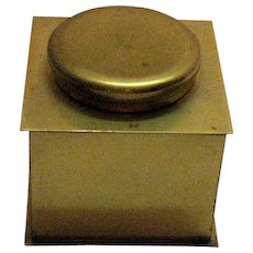 Vintage Brass Ink Well Glass Insert Hinged Cover 1930-50s Good Condition