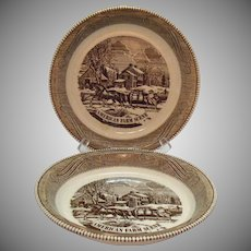 Two Vintage Pink Pie Bakers by Royal China Currier & Ives American Farm Scene 1967 Good Condition