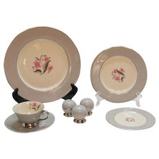 Vintage Flint Ridge China Vista Grey Dishes Pattern 10 Place Settings 1964-71 Like New Condition