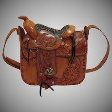 Rare Vintage Leather Genuine Figural Saddle Purse Hand Tooled 1950s Signed Mexico