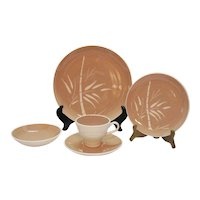 Vintage 72 Piece Mid-Century Set of Harkerware Pattern #HAR 34 Dishes Cream Colored Bamboo Tan Background 1950s Good Condition