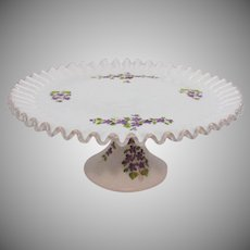Vintage Fenton Milk Glass Cake Stand with Violets in the Snow Pattern 1968-84 Like New Condition