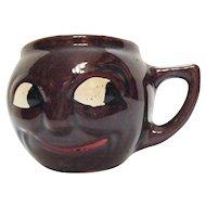 Vintage Black Americana Smiling Face Pottery Mug 1950s Good Condition