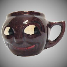 Vintage Black Americana Smiling Face Pottery Mug 1950s Good Condition