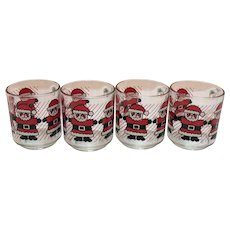 Vintage 4 French Luminarc Santa Glass Mugs 1960s Good Condition