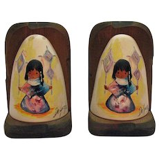 Vintage DeGrazia Bookends Pottery 1972-73