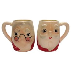 Two Vintage Ceramic Christmas Mugs Santa & Mrs. Santa 1960s Vintage Condition