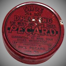 Vintage Shoe Polish tin by Pecard Good Vintage Condition
