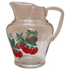 Vintage Glass Juice Pitcher 1950-60s Ice Lip 24 Ounces Good Condition