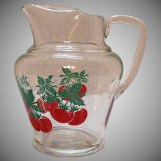 Vintage Glass Juice Pitcher 1950-60s Ice Lip 24 Ounces Good Condition