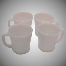 Vintage 5 Sets of 4 Mugs Each by Anchor Hocking Fire King White Mugs D Handles 1950-60s Good Condition