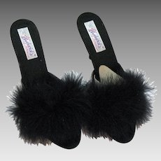 Vintage Black Frederick's of Hollywood Boudoir Bedroom High Heel Marabou Feather Slippers Original Box Unworn