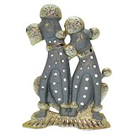 Adorable Vintage Metal Poodle Pierced Earrings Holder Signed Torino