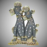 Adorable Vintage Metal Poodle Pierced Earrings Holder Signed Torino
