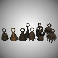 Vintage Group of 9 Small Brass Bells 1950s India Good Vintage Condition