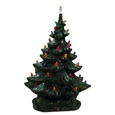 Vintage Atlantic Mold Ceramic Christmas Tree Lights Up Faux Plastic lights Good Condition