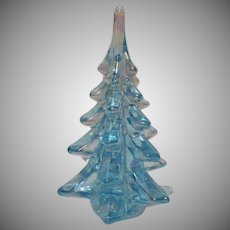 Vintage 1970s Iridescent Glass Christmas Tree Paperweight Good Condition.