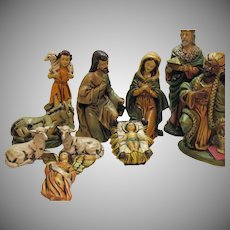 Vintage 11 Piece Large Nativity Set Made in Japan Composite Resin 1950s-60s Good Condition