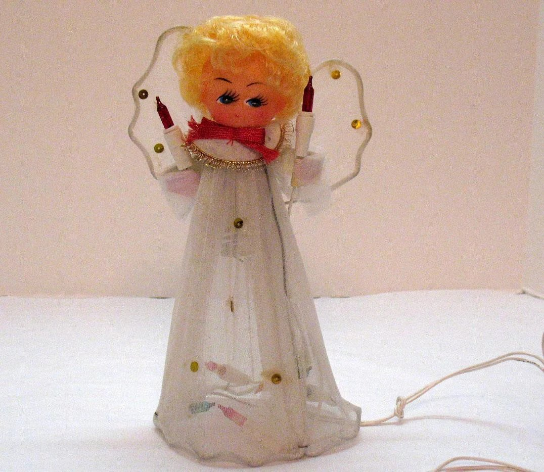 Small Angel Christmas Tree Topper: Vintage Lighted Angel Christmas Tree Topper Original Box